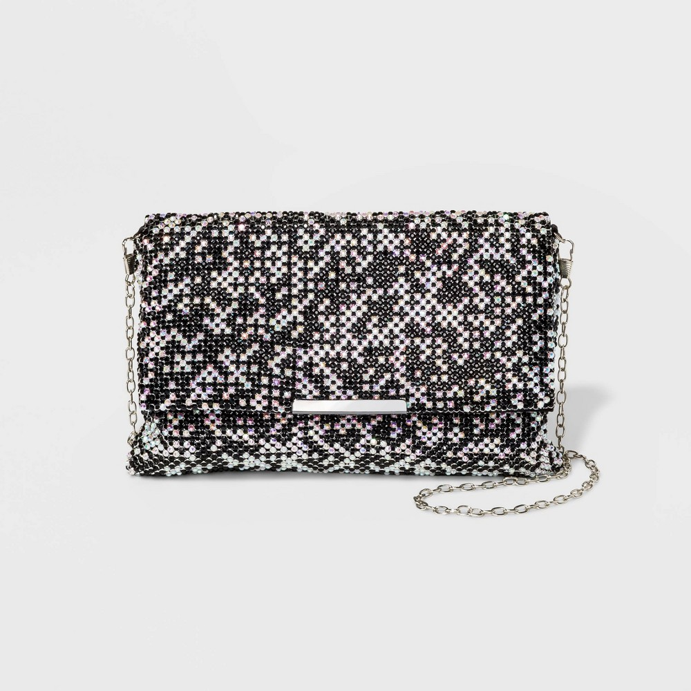 Image of Estee & Lilly Crystal Flap Clutch - Black, Women's, Size: Small, Black White