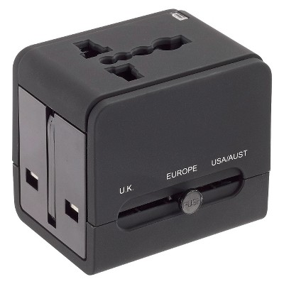 Lewis N. Clark Global Adapter with 2.4A Dual USB Charger - Black