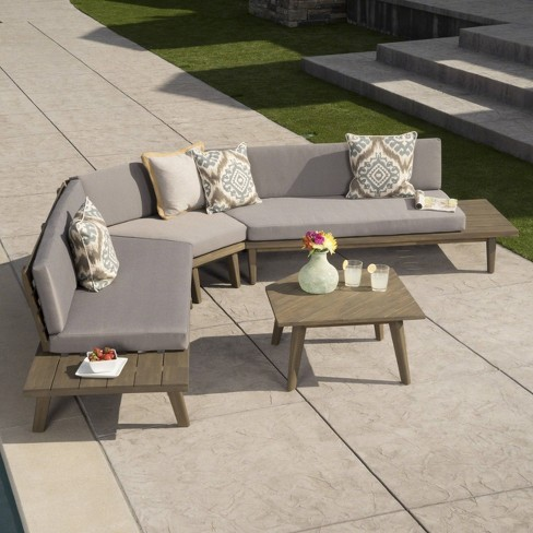 Hillcrest 4pc Acacia V Shaped Outdoor Patio Sectional Sofa Set -  Christopher Knight Home