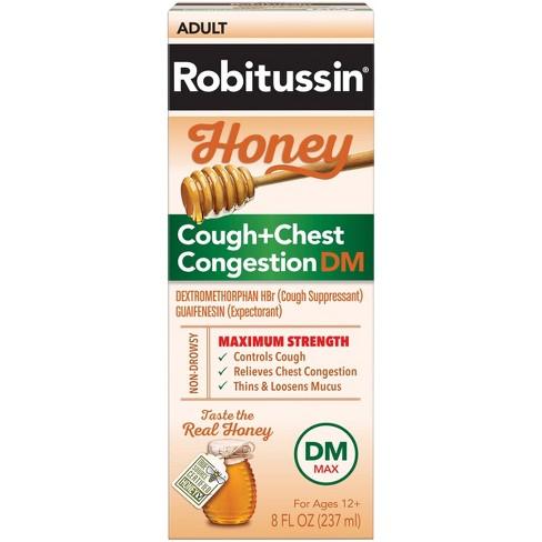 Robitussin Cough + Chest Congestion DM MAX Relief Liquid - Dextromethorphan - Honey - 8 fl oz - image 1 of 4