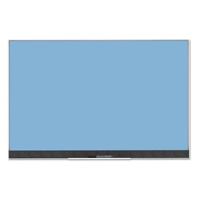 "U Brands 36""x24"" Magnetic Glass Dry Erase Board Blue Surface/White Aluminum Frame"