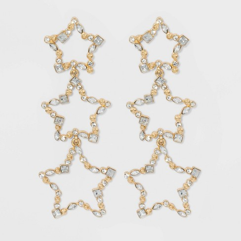 SUGARFIX by BaubleBar Crystal Star Drop Earrings - Clear - image 1 of 2