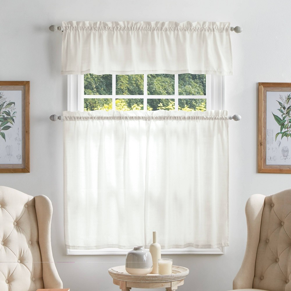 "Image of ""36""""x56"""" Bedford Woven Plaid Sheer Valence and Curtain Set White - Martha Stewart"""