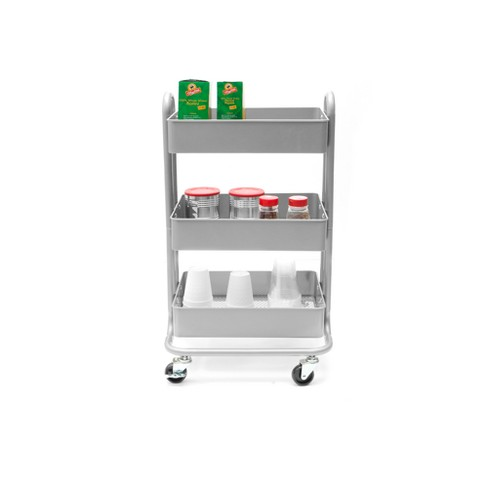 Mind Reader Heavy Duty 3 Tier Metal All Purpose Mobile Utility Cart - Silver - image 1 of 5