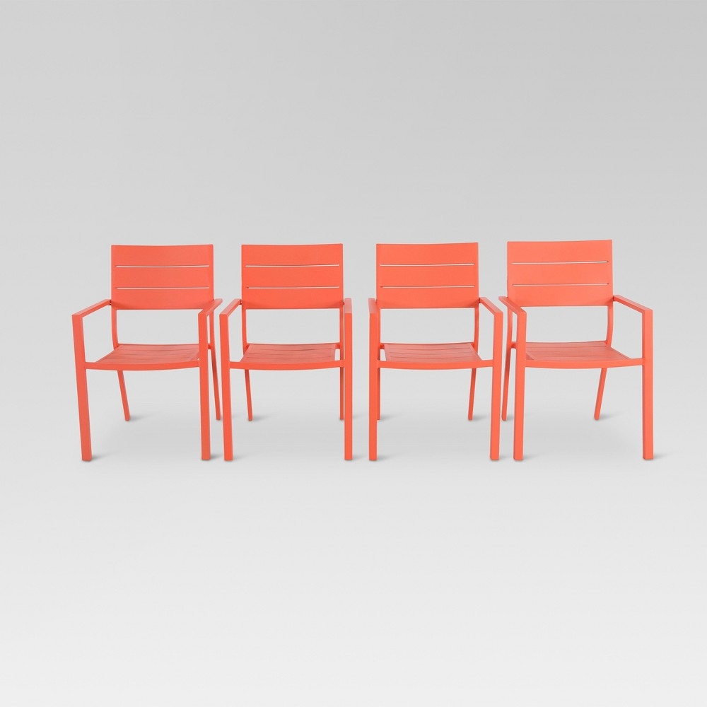 4pk Metal Slat Stack Patio Chair - Coral (Pink) - Threshold
