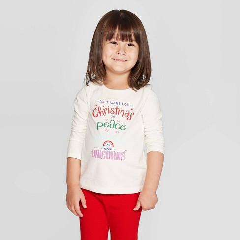 All I Want For Christmas.Toddler Girls Long Sleeve All I Want For Christmas Graphic T Shirt Cat Jack Cream