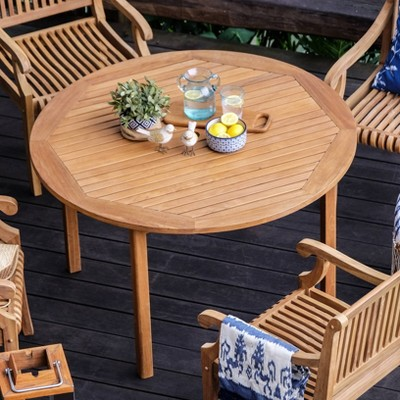Sherwood Teak Round Dining Table - Light Brown - Cambridge Casual