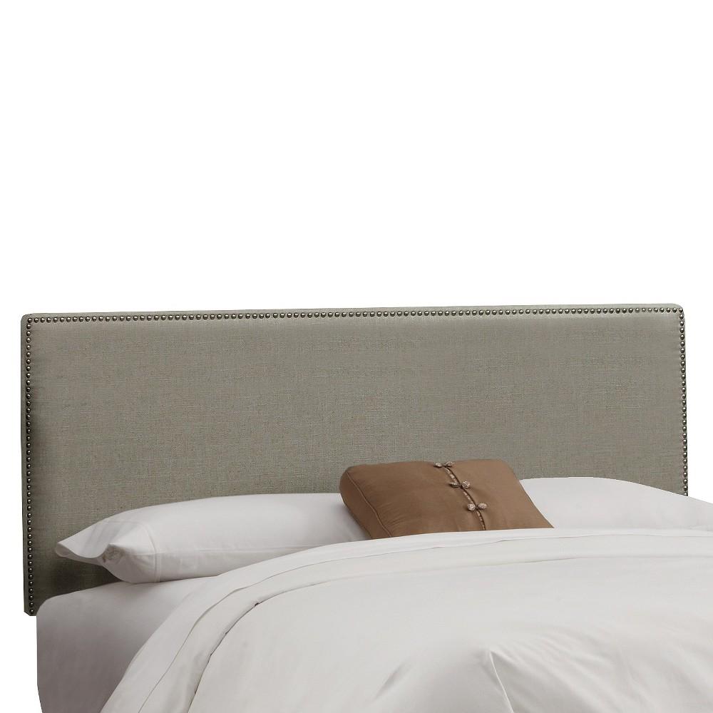 Queen Bella Nail Button Border Headboard Gray Linen with Pewter Nailbuttons - Cloth & Co., Grey Linen