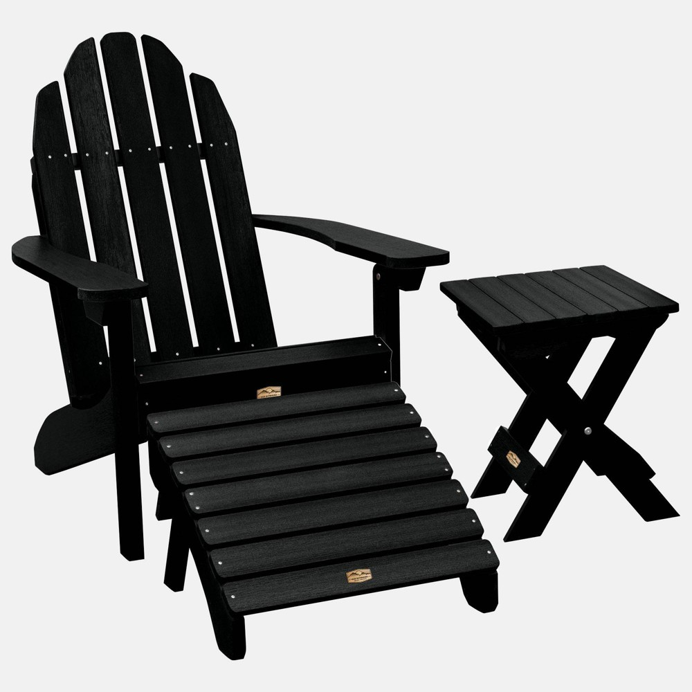 Image of Essential Adirondack Patio Chair with Ottoman & Side Table Black - highwood