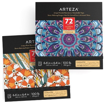 Arteza Coloring Books, Floral & Mandala Designs, for Kids or Adults, 6.4x6.4 Inches - Pack of 2
