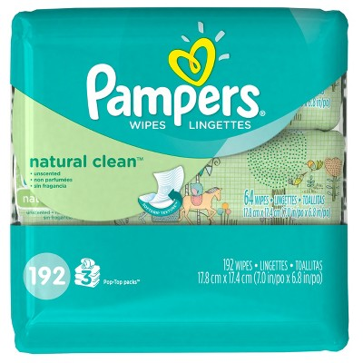 Pampers Natural Clean Baby Wipes - 192 ct