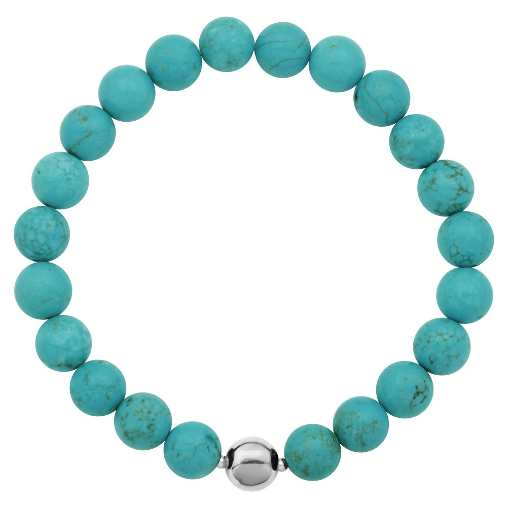 """Image of """"Genuine Dyed Turquoise Howlite and Fine Silver Plated Bronze Accent Bead Bracelet - 6.5"""""""", Women's, Blue Silver"""""""