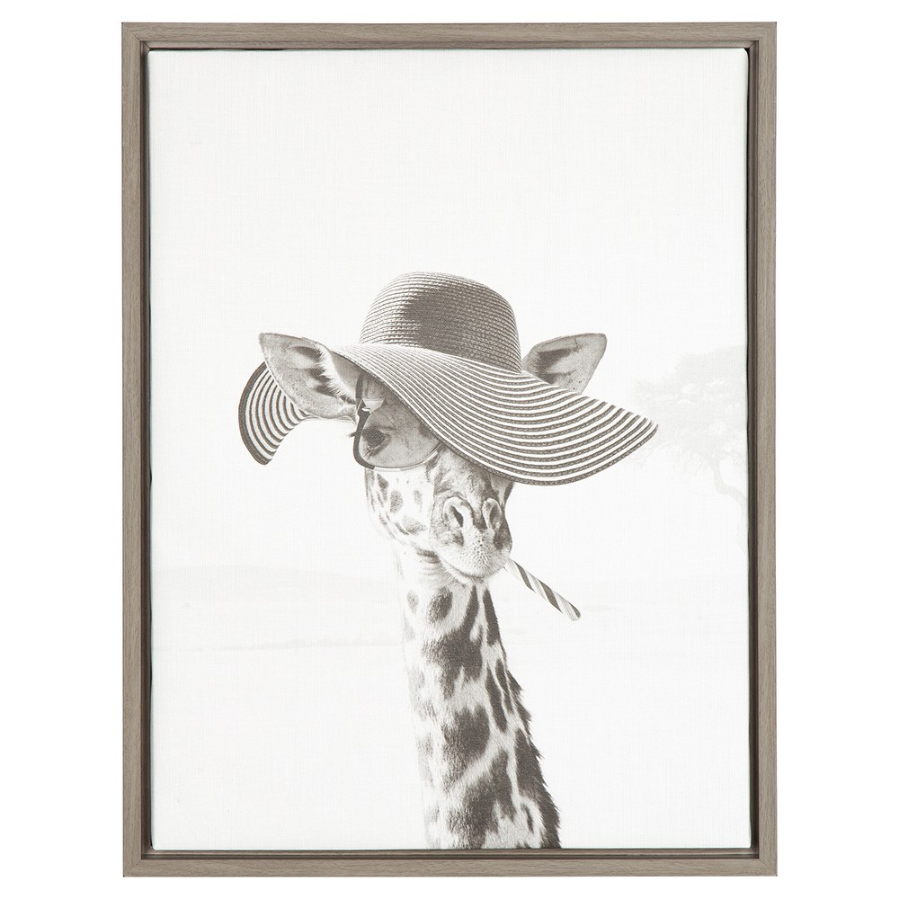 "Image of ""Sarifa Giraffe Framed Canvas Art Gray (24""""x18"""") - Uniek"""