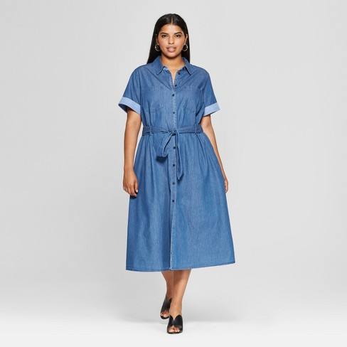 Womens Plus Size Short Sleeve Denim Midi Shirt Dress Who What