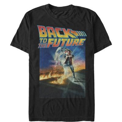 Retro Logo Print Back To The Future Navy Blue Mens T-Shirt