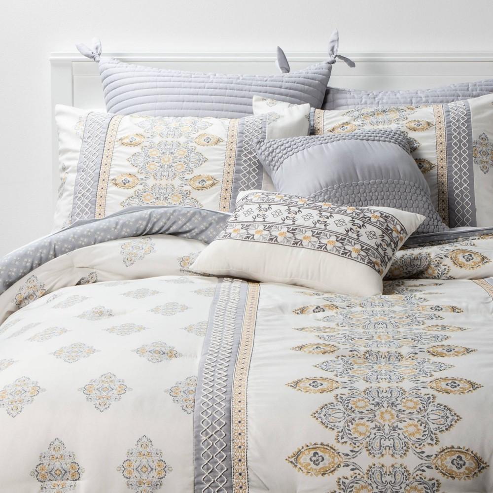 Queen 8pc Mattox Medallion Comforter Set Yellow Gray Threshold 8482