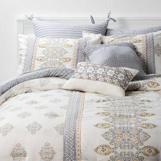 King 8pc Mattox Medallion Comforter Set Yellow/Gray - Threshold™