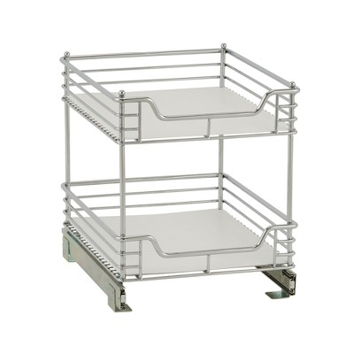 Design Trend 2-Tier Double Basket Sliding Under - Cabinet Organizer 14.5  Standard Depth Chrome
