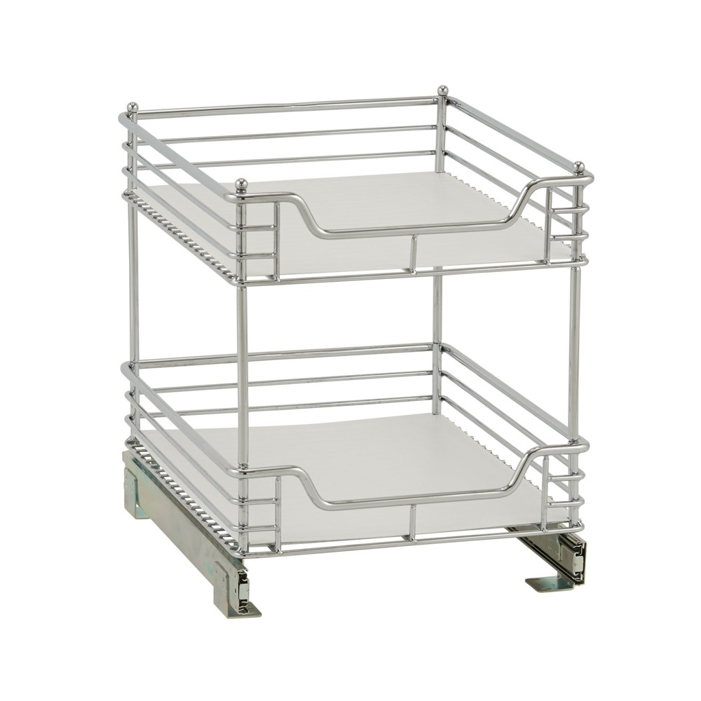 Image of Design Trend 2-Tier Double Basket Sliding Under - Cabinet Organizer 14.5 Standard Depth Chrome (Grey)