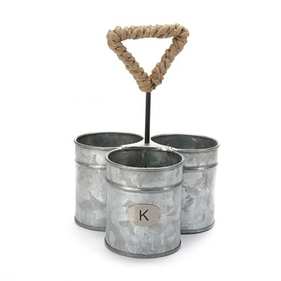MIND READER Utensil Caddy [3 Round Compartments] (SILVER ROPE)