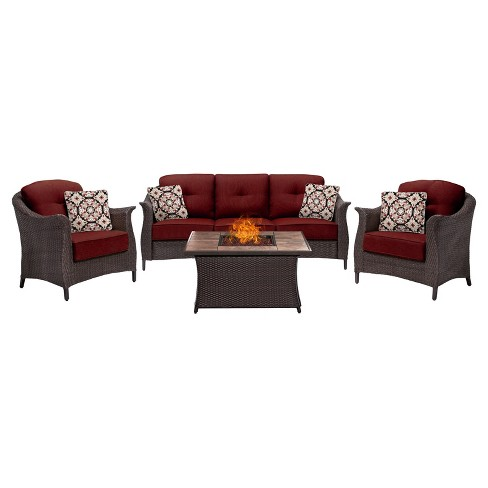 Gramercy 4pc All-Weather Wicker Patio Conversation Set w/ Fire Pit Table - Hanover - image 1 of 8
