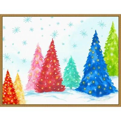 "24"" x 18"" Magic Christmas Trees I by PI Studio Framed Canvas Wall Art - Amanti Art"
