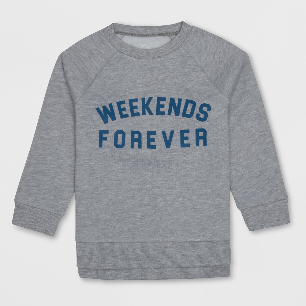 Well Worn Toddler Boys' 3/4 Sleeve Sweatshirt - Heather Gray 5T