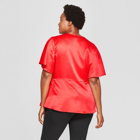05812f70290 Women s Plus Size Satin Wrap Short Sleeve Top - Ava   Viv™   Target