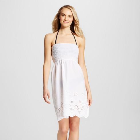 87104ee005 Women s Eyelet Tube Cover Up Dress - White - L - Mango Reef   Target