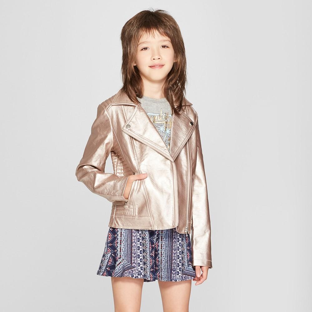 Girls' Metallic Moto Jacket - art class Purple XL