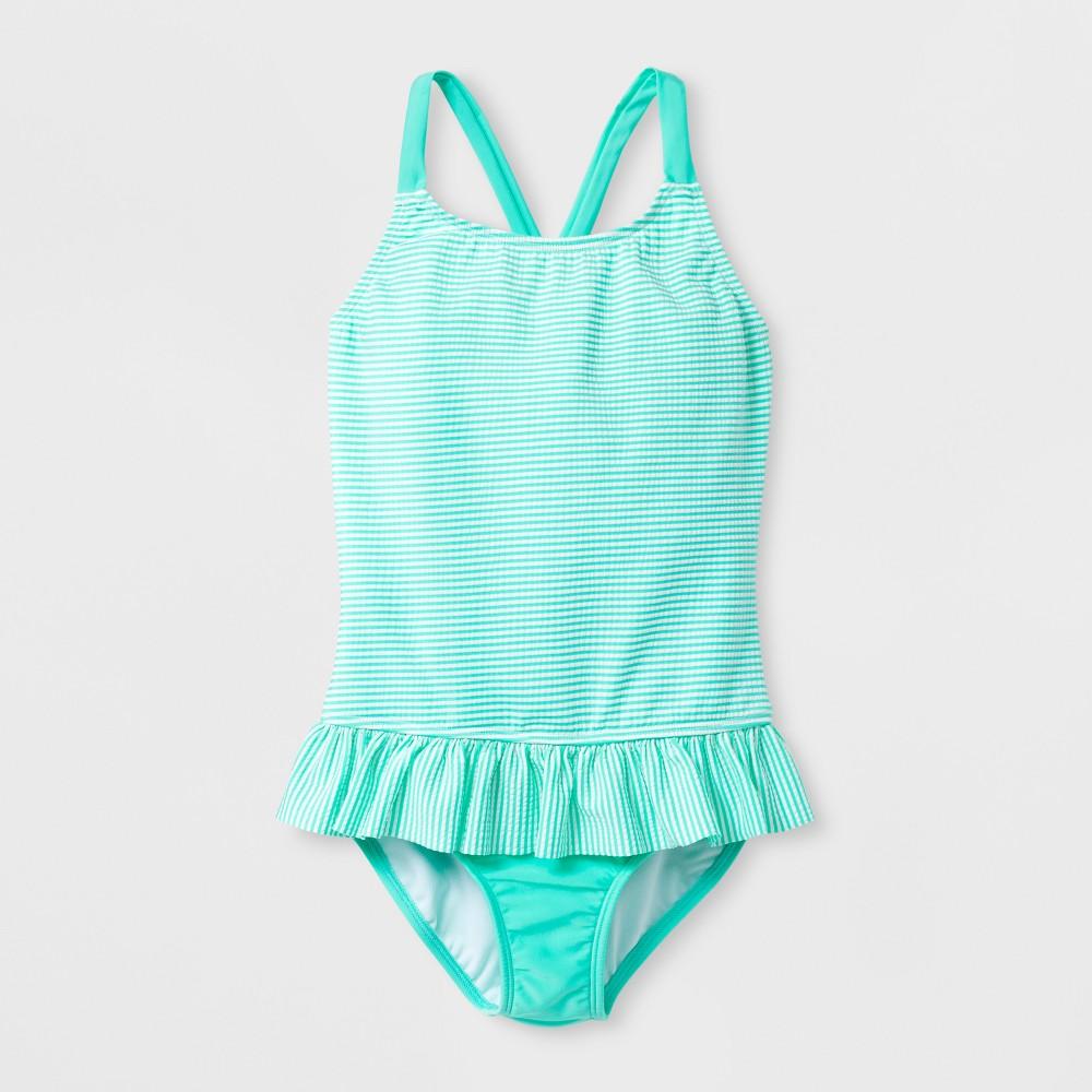 Girls' Seersucker One Piece Swimsuit - Cat & Jack Mint M, Blue