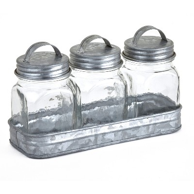 Lakeside Glass Canisters in Galvanized Tray - Farmhouse Spice Container Set of 3