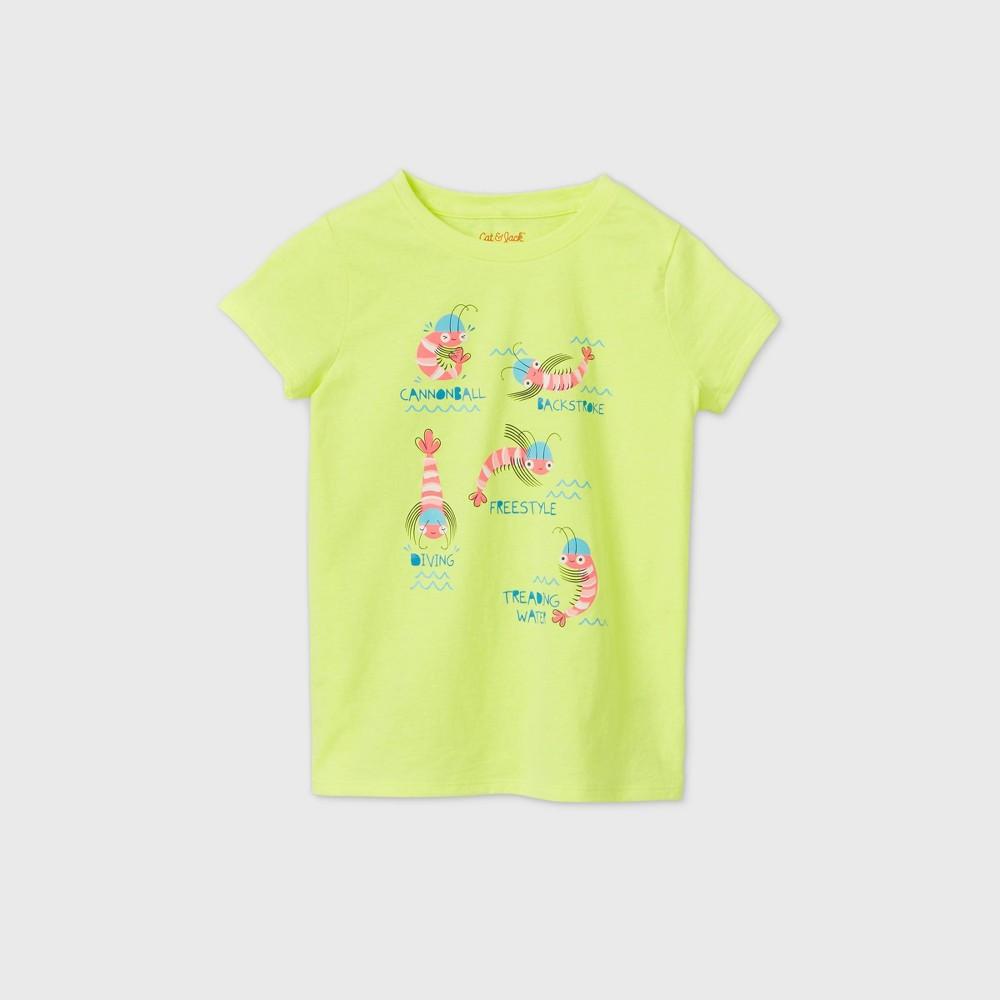 Girls' Short Sleeve Swimming Shrimp Graphic T-Shirt – Cat & Jack Neon Yellow XS, Pink/Yellow