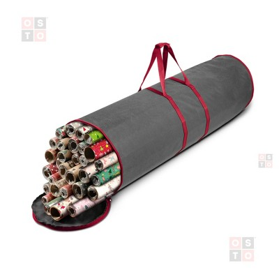 """OSTO Round Holiday Non-Woven Cylinder-Shaped Gift Wrap Storage Bag Organizer Holder Fits 20 Rolls of 40"""" Wrapping Paper 41 In. X 11.2 In."""