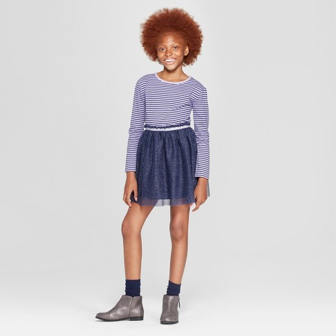 Girls' Long Sleeve Stripe Knit to Woven Dress with Tulle Skirt - Cat & Jack™ Purple/Navy - image 1 of 3