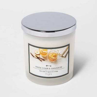 20oz Lidded Milky Glass Jar 3-Wick Warm Cider and Cinnamon Candle - Threshold™