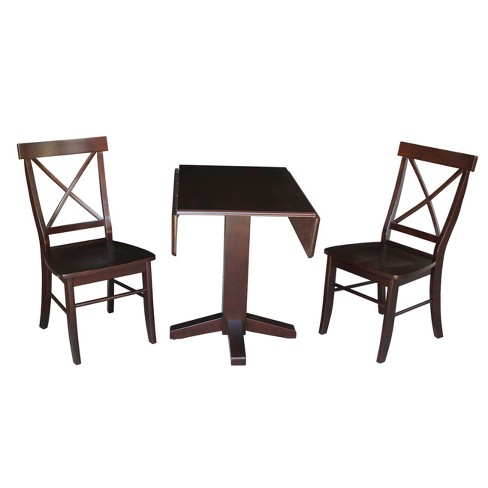 Astonishing 36 Set Of 3 Square Dual Drop Leaf Table With 2 X Back Chairs Dark Brown International Concepts Machost Co Dining Chair Design Ideas Machostcouk