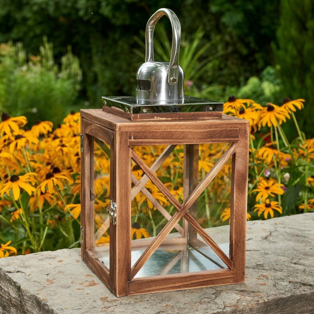 12 34 Indoor Outdoor Wood Lantern With Metal Top Brown Haven Way