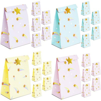 "24 Pack 8.5"" Rainbow Party Favor Bags with Gold Star Stickers for Gift Wrapping and Birthday Party Decorations"