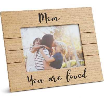 """Juvale """"Mom You are Loved"""" Wood Tabletop Picture Photo Frame for 5x7 Photo Mother's Day Gift, Brown 10""""x7.5"""""""