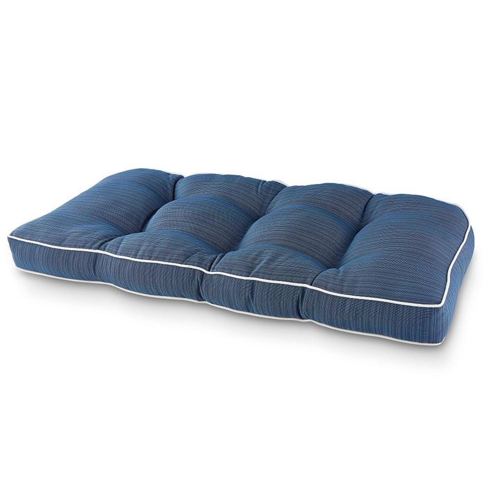 Image of Elite Settee Outdoor Seat Cushion Denim Blue - Terrasol