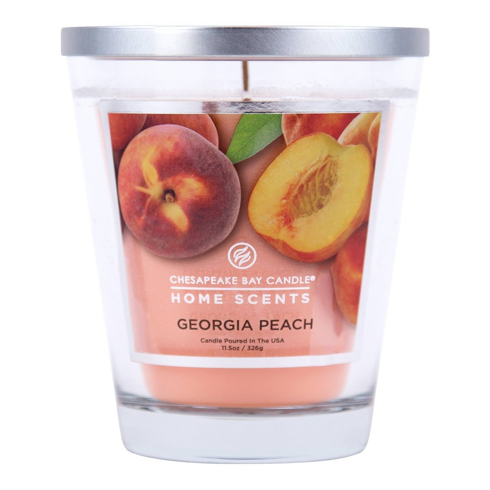 Image of 11.5oz Glass Jar Candle Georgia Peach - Home Scents by Chesapeake Bay Candle