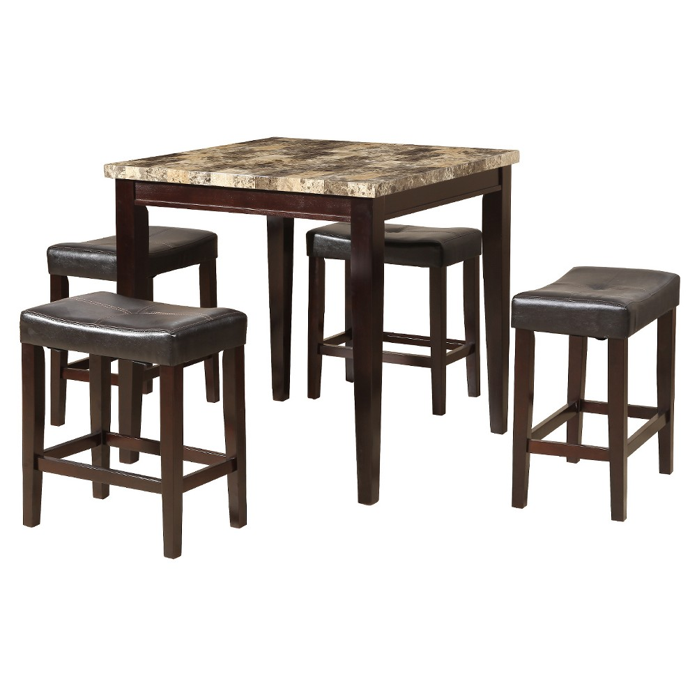5pc Faux Marble Dining Set - Black/Cherry - Home Source