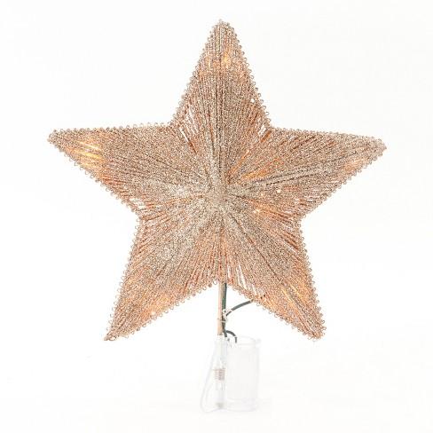 lit glitter string incandescent star christmas tree topper gold wondershop