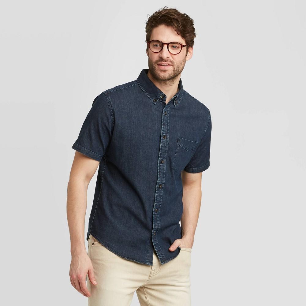 Men's Standard Fit Short Sleeve Denim Shirt - Goodfellow & Co Dark Wash S, Men's, Size: Small, Dark Blue was $19.99 now $12.0 (40.0% off)