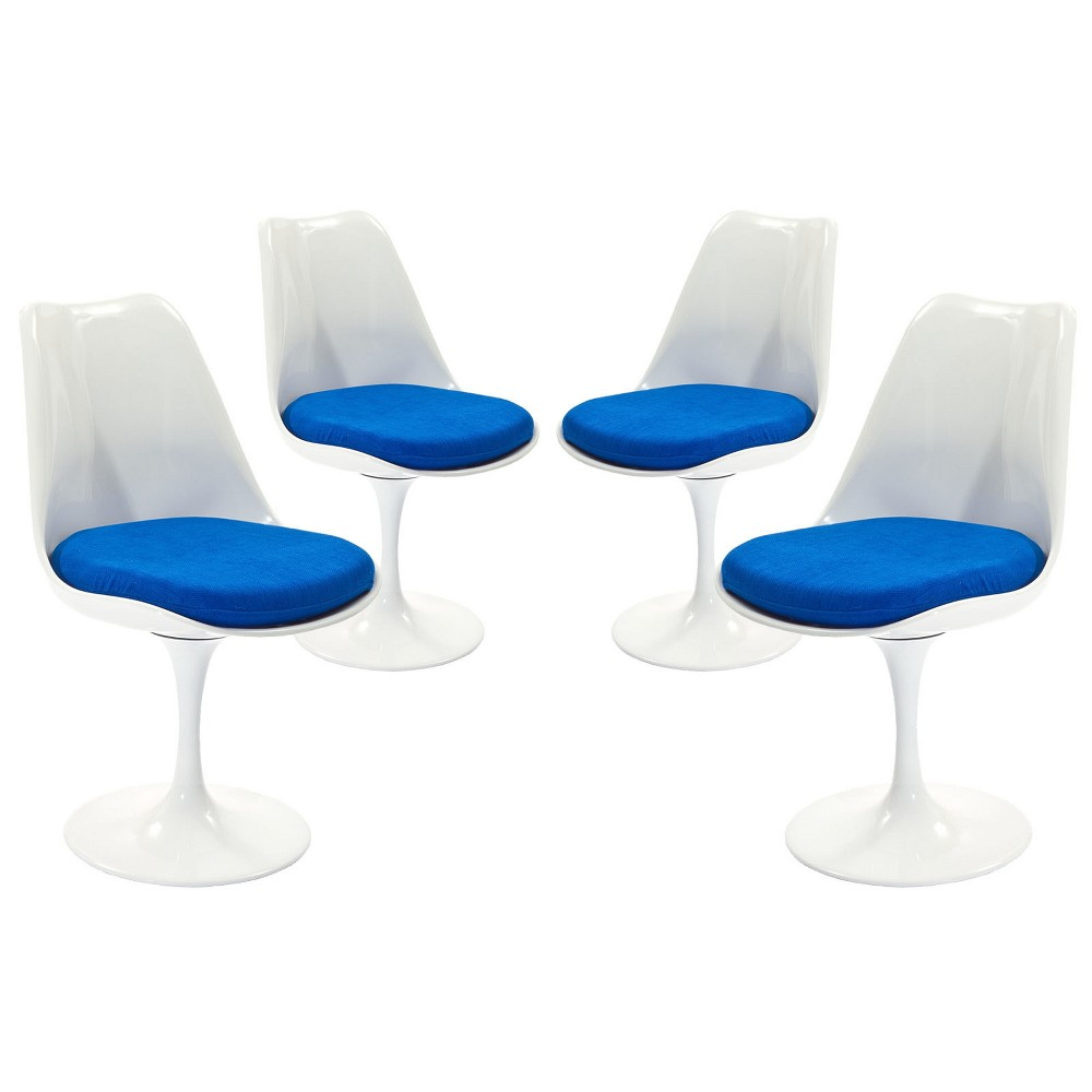 Lippa Dining Side Chair Fabric Set of 4 Blue - Modway
