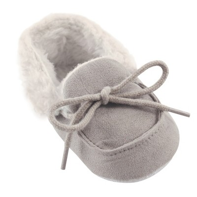Luvable Friends Baby Unisex Moccasin Shoes, Gray