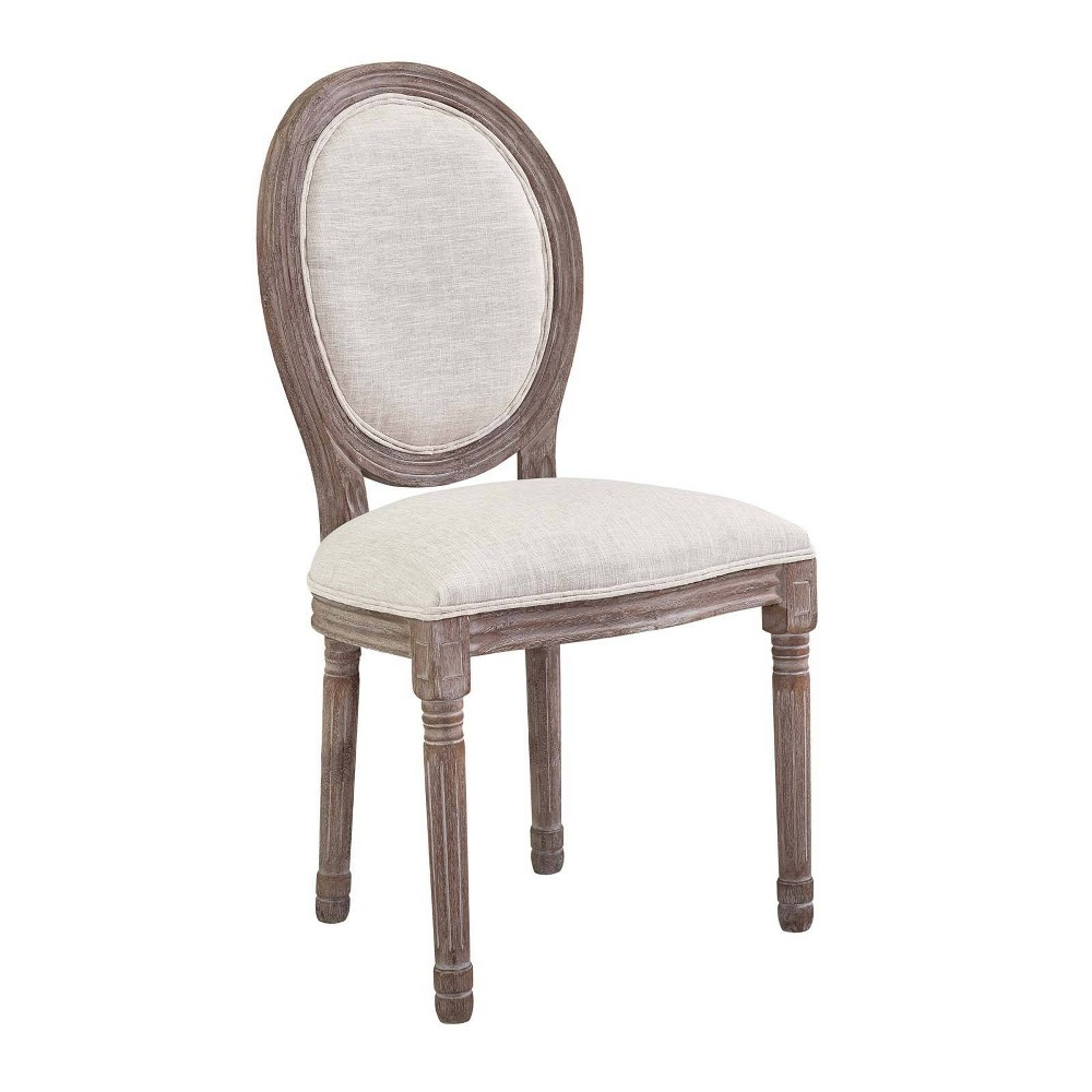 Emanate Vintage French Upholstered Fabric Dining Side Chair Beige - Modway