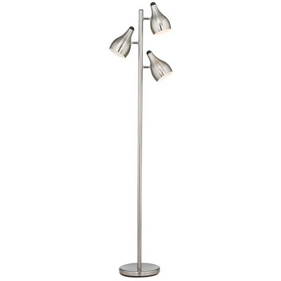 Modern Floor Lamp 3-Light Tree Brushed Steel Adjustable Shades for Living Room Reading Bedroom Office