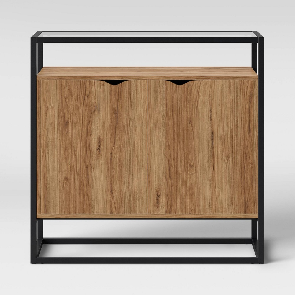 Ada Mixed Material 2 Door Cabinet with Glass - Project 62